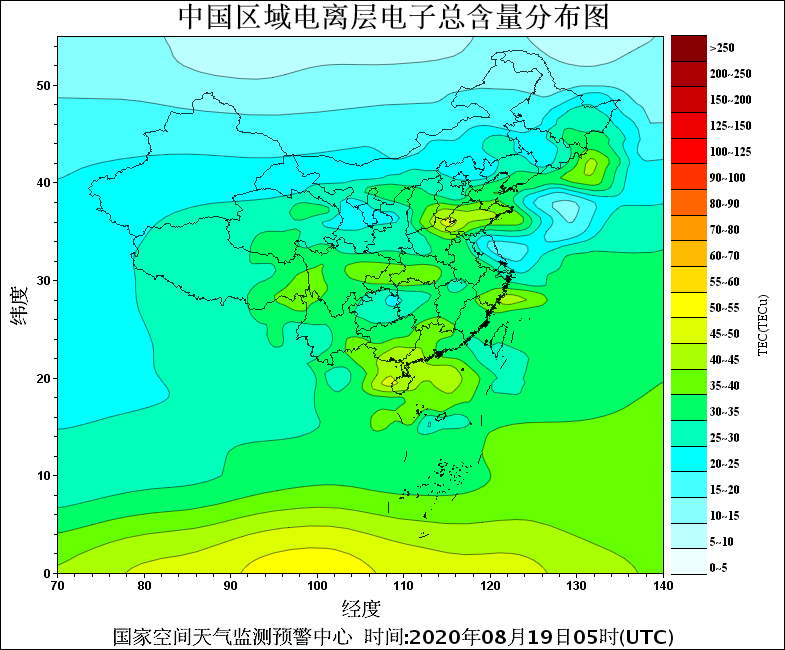 中国地区TEC分布图
